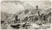Sion old view, canton of Valais, Switzerland. Created by Girardet, published on L'Illustration, Jour