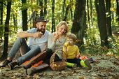 Picnic In Nature. Meaning Of Happy Family. United With Nature. Family Day Concept. Happy Family With poster