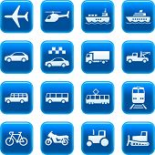 foto of transportation icons  - Set of blue vector buttons with transportation icons - JPG