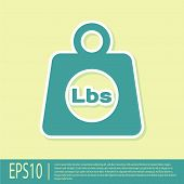 Green Weight Pounds Icon Isolated On Yellow Background. Pounds Weight Block For Weight Lifting And S poster