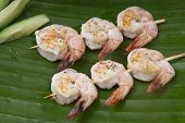delicious fresh shrimp on a green banana leaf