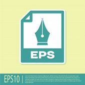 Green Eps File Document Icon. Download Eps Button Icon Isolated On Yellow Background. Eps File Symbo poster