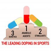 Pedestal With Leading Doping Agents In Sports. Isolated On White poster