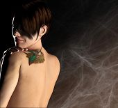 Girl With Tattoo On Back 3 D Illustration