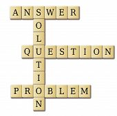 picture of scrabble  - game letters forming the word questionanswerand problem - JPG