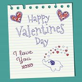 Happy Valentines Day Doodle On Notepaper