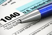 picture of ballpoint  - Tax form business financial concept - JPG
