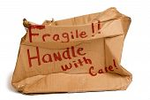 foto of fragile sign  - Large brown box with  - JPG