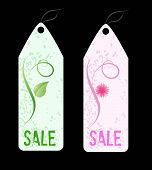 Two Grunge Florals Shop Tags.