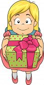 Illustration of a Girl Holding a Gift in a Beautifully Wrapped Box
