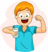 Illustration of a Boy Demonstrating the Strength of His Bicep After Drinking Milk