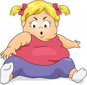 foto of obese children  - Illustration of an Obese Girl Trying to Exercise by Reaching Her Toes - JPG