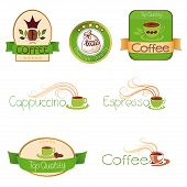 Set Of Logos For Coffee,  Green