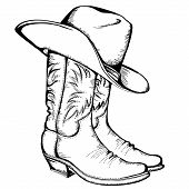Cowboy-Stiefel und hat.vector Grafik illustration