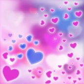 Romantic Pink And Blue Abstract Background With Hearts