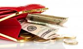 female red wallet with money isolated on white