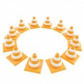 Roadworks Orange Cone Copyspace Round Frame