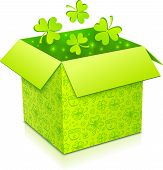 picture of triskele  - Green Patrics day vector gift box with green clovers inside - JPG