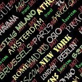Постер, плакат: Искусство Бесшовные Векторные узор фона с любовью к Москве Париж Милан Берлин Лондон Токио Бар