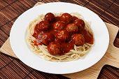 Постер, плакат: Тарелка спагетти и фрикадельки