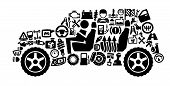 pic of motor vehicles  - vector black auto icons set on gray - JPG