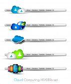 Temáticos cabeçalhos ou rodapés para modelos de projeto ou blog de web moderna tecnologia de computação em nuvem