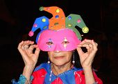 Elderly Masked Clown Fantasy In Carnival