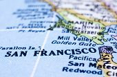 Close Up Of San Francisco On Map, United States