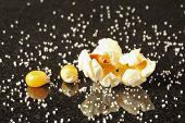 Popcorn Kernels Surrounded By Salt Grains