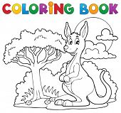 Coloring book with happy kangaroo - vector illustration.