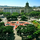 BARCELONA, SPAIN - AUGUST 17: Aerial view of Placa Catalunya on August 17, 2012 in Barcelona, Spain.