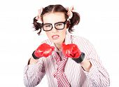 Determined Young Woman In Boxing Gloves
