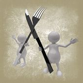3D People With Fork And Spoon