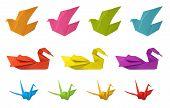 Origami Birds Isolated On White