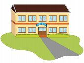 image of school building  - entrance to a school building on a white background - JPG