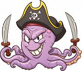 Cartoon pirate octopus. Vector clip art illustration with simple gradients. All in a single layer