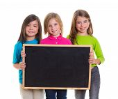 children group kid girls holding blank blackboard copy space on white background