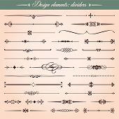 pic of dash  - Set of vector calligraphic design elements and page decoration dividers and dashes - JPG