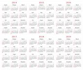 image of weekdays  - Calendar for years 2014 - JPG