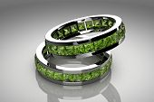 stock photo of peridot  - Jewellery ring on white background  - JPG