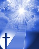 stock photo of stairway  - Long stairway to heaven with light at the end - JPG