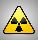 foto of radium  - Triangular nuclear symbol isolated on grey background - JPG