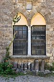stock photo of filerimos  - Filerimos monastery gothic window Rhodes island Greece - JPG
