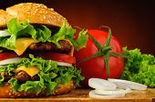 Hamburger Closeup And Vegetables