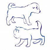 pic of greenpeace  - dog and cat silhouette vector illustration  - JPG
