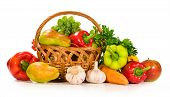 Fresh Vegetables And Fruits In A Basket