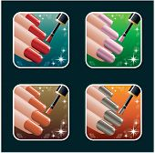 Set Of Icons Of Women's Manicure. Ps10
