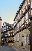 The Street With Half-timbered Houses In Quedlinburg, Germany
