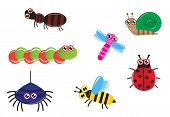 image of caterpillar cartoon  - Set of cartoon insects  - JPG