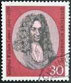 A stamp printed in the Germany shows Gottfried Wilhelm Leibniz philosopher and mathematician